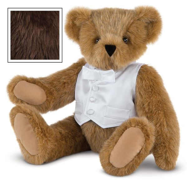 "15"" Special Occasion Boy Bear - Three quarter view of seated jointed bear dressed in a white satin vest and shirt front with bowtie - Espresso brown fur image number 5"