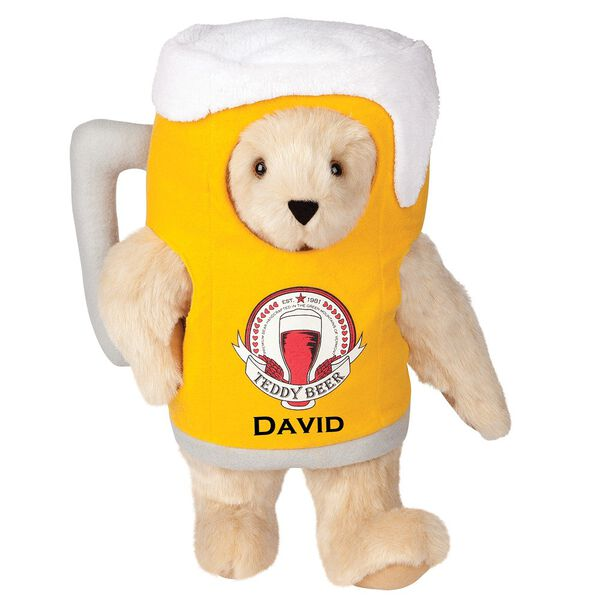 "15"" Cheers to You Bear - Standing jointed bear dressed in gold and white beer mug costume with Vermont Teddy Bear beer bottle graphic that says ""Teddy Beer"". Personalized with David below graphic in black lettering - Buttercream brown fur image number 1"