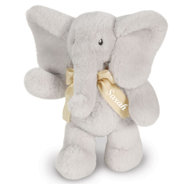 "13"" Cuddle Cub Elephant Bear with Bow - Front view of standing gray elephant with cream velvet bow image number 3"