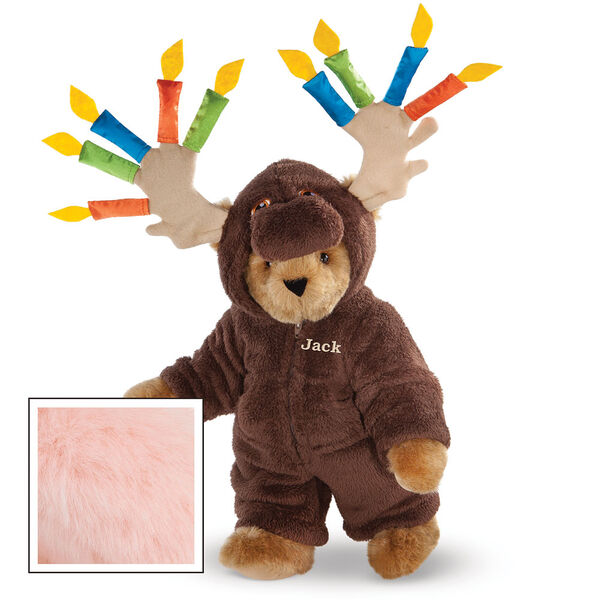 """15"""" Moose Be Your Birthday! Bear - Front view of standing jointed bear dressed in a brown hoodie footie with birthday candles on the tan antlers personalized with """"Jack"""" on left chest in gold lettering - Pink image number 5"""