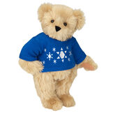 "15"" Chanukah Sweater Bear - Standing jointed bear dressed in blue knit sweater with white Star of Davids embroidered on the front - Maple brown fur image number 4"
