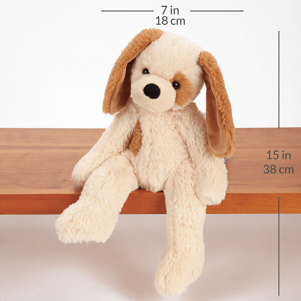 """15"""" Buddy Puppy - Front view of slim tan Puppy with brown ears and spot sitting on shelf with a width measurement of 7 in or 18 cm and and length measurement of 15 in or 38 cm long.  image number 3"""