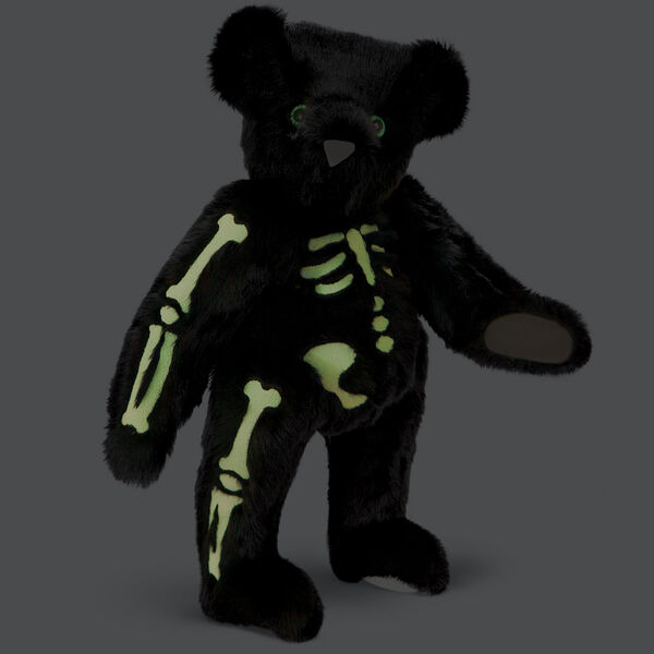 """15"""" Skeleton Bear -  Standing 3/4 view of jointed black bear with glow in the dark eyes and bones white nose and white pads.  image number 2"""