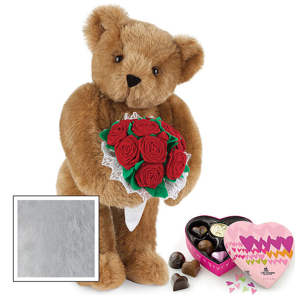 """15"""" Red Rose Bouquet Bear and Chocolates - Front view of standing jointed bear holding a large red bouquet wrapped in white satin and lace  and 6 pc. heart box of chocolates - Gray image number 5"""