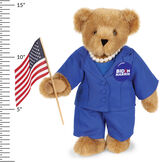 "15"" Kamala Harris Bear - Standing Honey Bear with brown eyes, blue suit with 15"" measurement next to the bear.  image number 5"