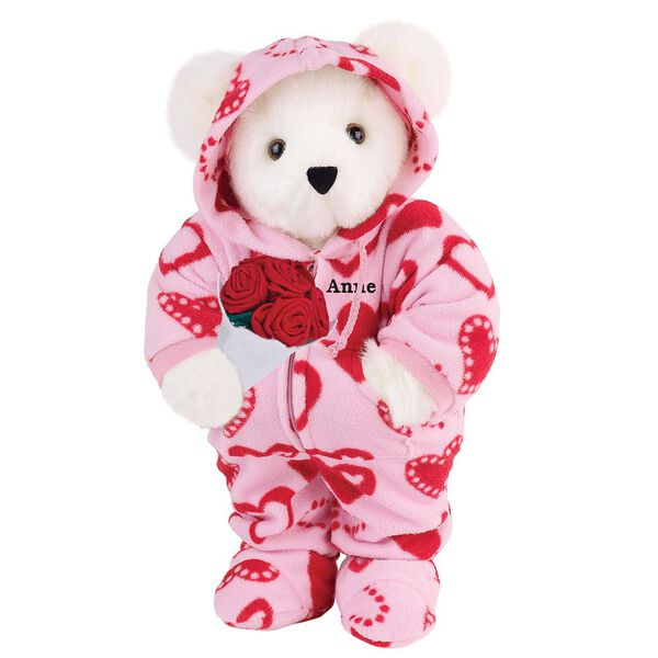 """15"""" Sweetheart Hoodie-Footie Bear with Red Roses - Front view of standing jointed bear dressed in pink hoodie footie with red heart pattern holding a bouquet of red roses, personalized with """"Anne"""" in black on left chest - Vanilla white fur image number 2"""