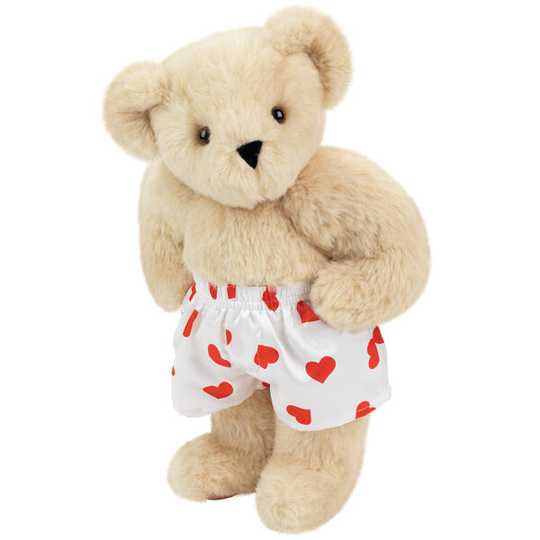 """15"""" Heart Throb Bear - Three quarter view of standing jointed bear dressed in white satin boxers with red hearts - Buttercream brown fur image number 1"""