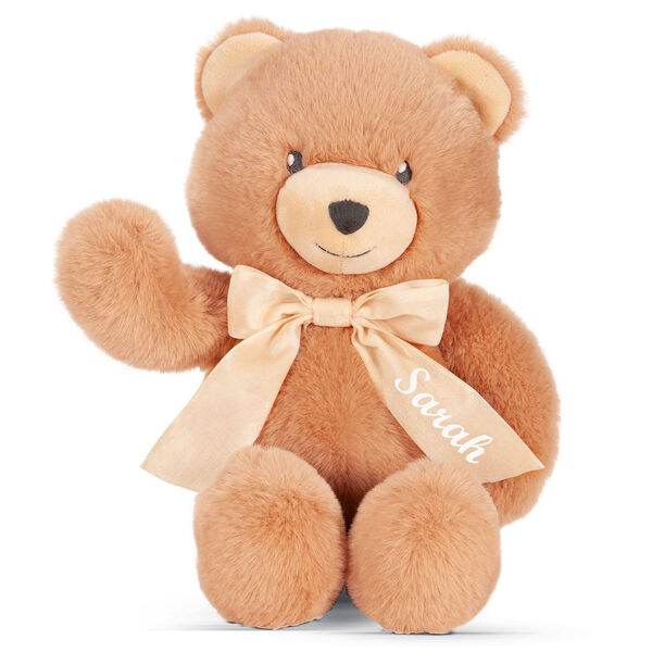 "13"" Cuddle Cub Bear with Bow - Front view of golden bear waving its right arm, has tan muzzle and cream velvet bow image number 4"