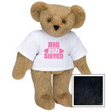 """15"""" 2021 Big Sister T-Shirt Bear - Standing jointed bear dressed in a white t-shirt with bright pink and white artwork that says, """"Big Sister 2021"""" on the front of the shirt - Black image number 3"""