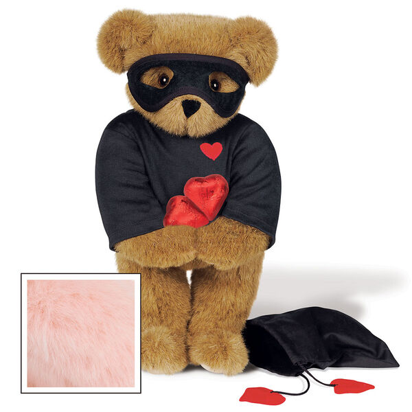 """15"""" Love Bandit Bear - Front view of standing jointed bear dressed in black turtleneck with red heart on left chest, black mask and holding a black bag with 2 chocolates - Pink image number 5"""