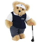 """15"""" Golfer Bear - Standing jointed bear in blue plaid pants, white polo shirt, dark blue vest and white visor holding a golf club - Maple image number 5"""