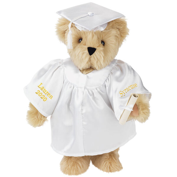 """15"""" Graduation Bear in White Gown - Front view of standing jointed bear dressed in black satin graduation gown and cap and holding a rolled up diplomapersonalized """"Jackson 2020"""" on right sleeve and """"Syracuse"""" on left in gold - Maple brown fur image number 4"""
