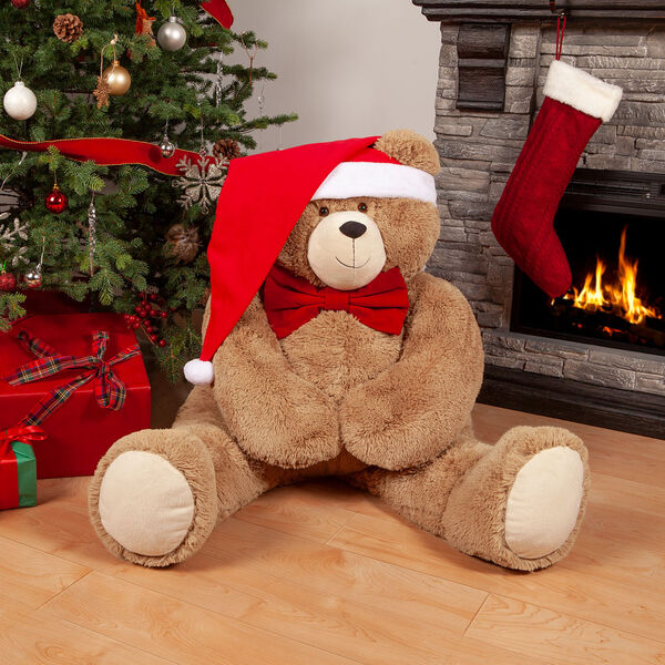 4' Big Hunka Love Bear with Bow Tie and Santa Hat - Seated golden brown bear dressed in a red velvet bowtie and Santa Hat in Christmas scene image number 0