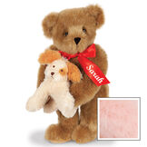 """15"""" Puppy Love Bear - 15"""" Standing Bear wearing a red satin bow and comes with plush puppy. Bow is personalized with """"Sarah"""" on the left tail - Pink image number 8"""