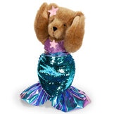 """15"""" Mermaid Bear - Three quarter view of standing jointed bear dressed in a blue sequin tail and purple top with shell embroidery an pink starfish applique and earpiece - honey brown fur image number 12"""