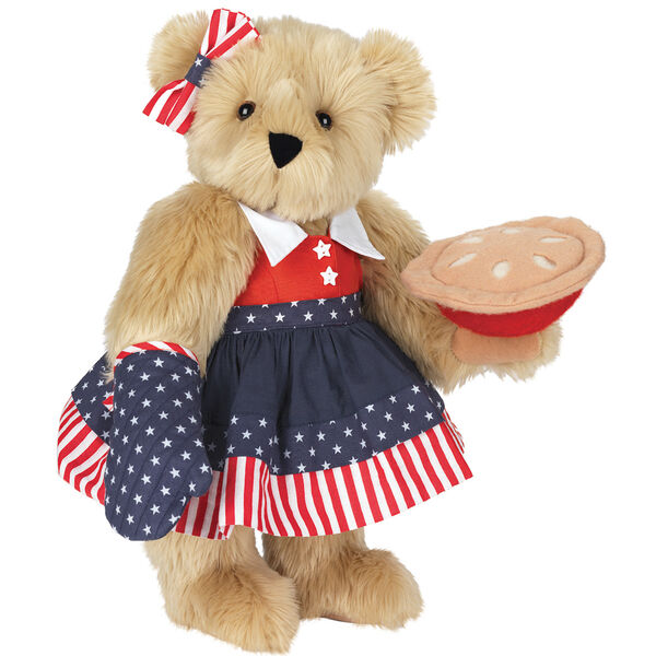 """15"""" All American Mom Bear - Standing jointed bear in a red, white and blue stars and stripes dress with matching head bow and oven mitt holding an apple pie - Maple brown fur image number 6"""