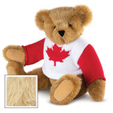 """15"""" Maple Leaf Sweater Bear - Three quarter view of seated jointed bear dressed in white knit sweater with red maple leaf on front and red sleeves  - Maple image number 8"""