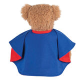 "13"" Super Soft Super Hero Bear - Back view of seated Almond Brown Bear in blue and red cape.  image number 4"