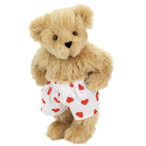 """15"""" Heart Throb Bear - Three quarter view of standing jointed bear dressed in white satin boxers with red hearts - Maple brown fur image number 4"""