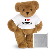 """15"""" """"I HEART You"""" Personalized T-Shirt Bear - Standing Jointed Bear in white t-shirt that says I """"Heart"""" You in black and red lettering - Gray fur image number 5"""