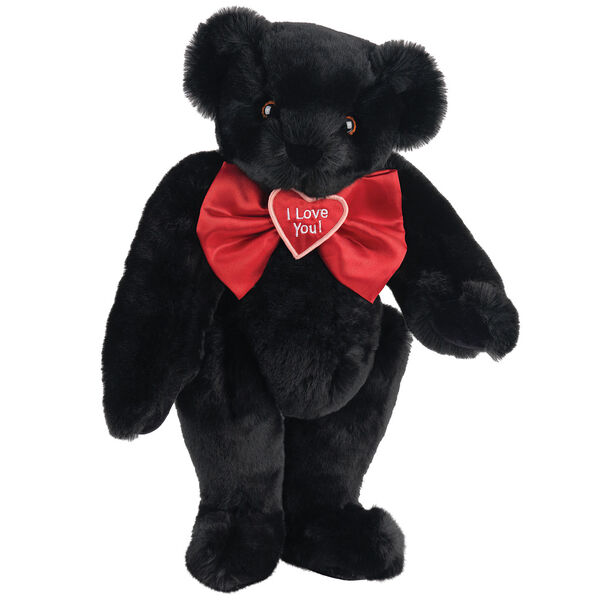 """15"""" """"I Love You"""" Bow Tie Bear - Standing jointed bear dressed in red satin bow tie; """"I Love You""""  is embroidered on red satin heart center - Black fur image number 3"""