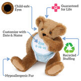 """15"""" Baby Boy Bear - Seated jointed bear dressed in light blue with white dots fabric diaper and bib, text around bear reads, """"Guaranteed For Life; Recycled Stuffing; Hypoallergenic Fur; Customize with Date and Name; Child-safe Eyes"""".  image number 2"""