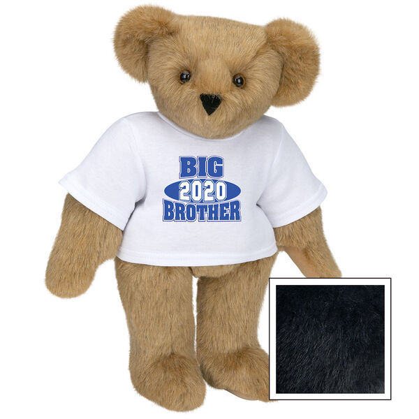 """15"""" 2020 Big Brother T-Shirt Bear - Standing jointed bear dressed in a white t-shirt with royal blue and white artwork that says, """"Big Brother 2020"""" on the front of the shirt - Black fur image number 3"""