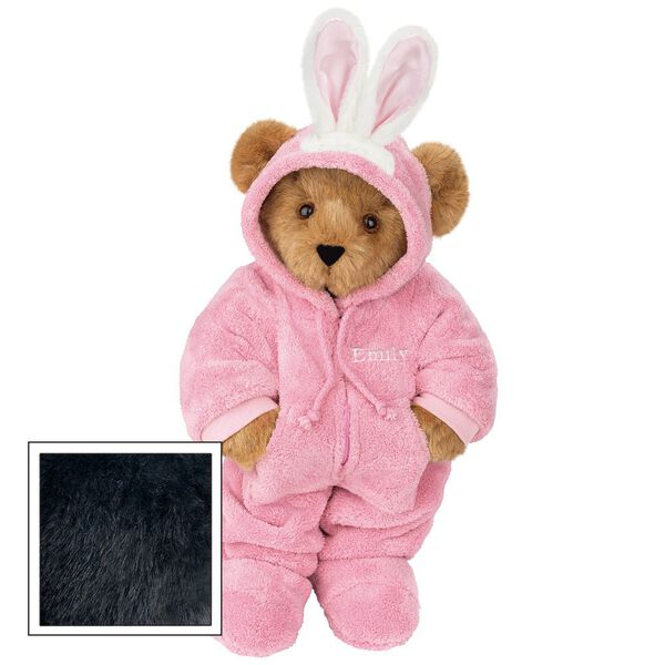 """15"""" Hoodie-Footie Bunny Bear - Front view of standing jointed bear dressed in pink hoodie footie and bunny ears personalized with """"Emily"""" in white on left chest - Black fur image number 4"""