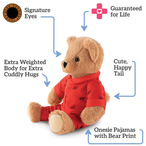 "13"" PJ Pal, Bear- Three quarter view of seated light brown Bear in red cotton onesie pajamas. Text reads, ""Signature Eyes; Guaranteed For Life; Cute, Happy Tail; Onesie pajamas with Bear Print; Extra Weighted Body for Extra Cuddly Hugs"".  image number 4"