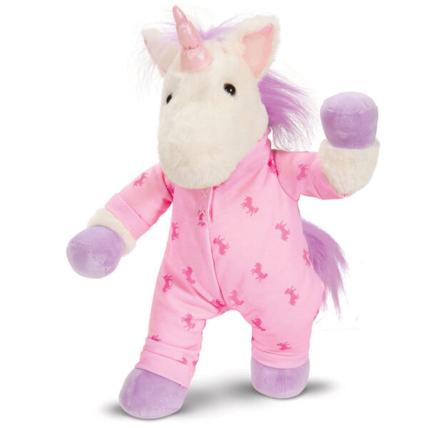 """13"""" PJ Pal Unicorn - Front view of standing cream unicorn with lavender hooves, horn, main and tail. Wearing pink unicorn print pajamas image number 3"""