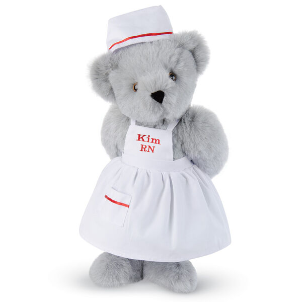 """15"""" Nurse Bear - Front view of standing jointed bear dressed in white nurse's dress and hat with red trim perosnlized with """"Kim RN"""" on bib of dress in red - Gray fur image number 4"""