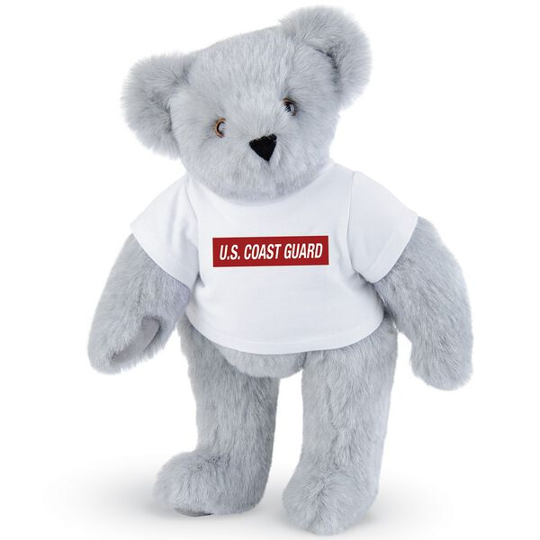 """15"""" Coast Guard T-Shirt Bear - Front view of standing jointed bear dressed in white t-shirt with dark red graphic that says, """"U.S. COAST GUARD"""" - Gray fur image number 4"""