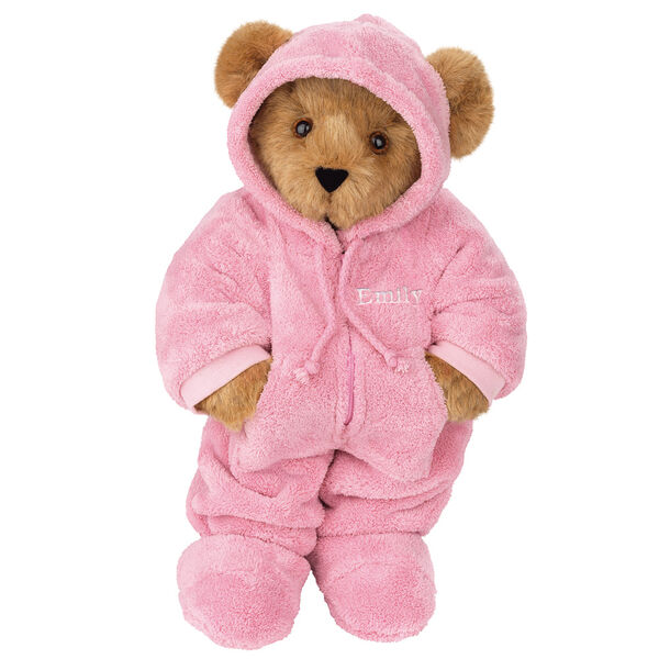 "15"" Hoodie Footie Bear - Front view of standing jointed bear dressed in pink hoodie footie personalized with ""Emily""  in white on left chest - Honey brown fur"