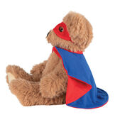 "13"" Super Soft Super Hero Bear - Side view of seated Almond Brown Bear in red Super Hero mask and blue and red cape.  image number 2"