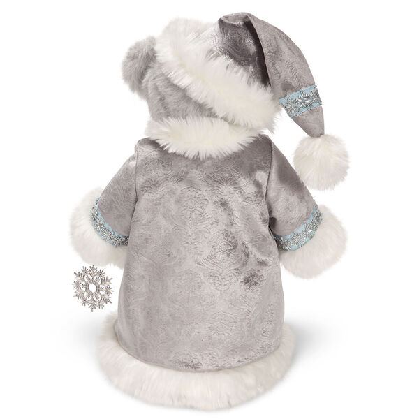 """15"""" Limited Edition Snowflake Santa - Back view of gray standing bear in a silver and fur long coat with crystal snowflake image number 2"""