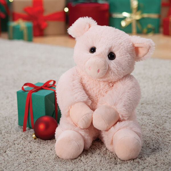 """18"""" Oh So Soft Pig - Front view of seated soft plush pink pig with brown eyes and right ear folded down image number 0"""