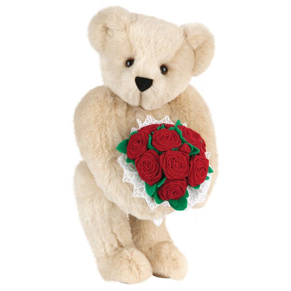 """15"""" Red Rose Bouquet Bear - Front view of standing jointed bear holding a large red bouquet wrapped in white satin and lace - Buttercream brown fur image number 1"""