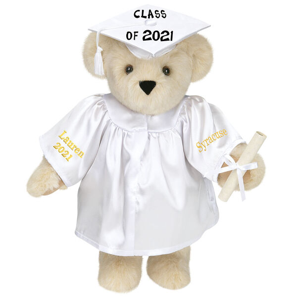 """15"""" Graduation Bear in White Gown - Front view of standing jointed bear dressed in white satin graduation gown and cap and holding a rolled up diploma personalized """"Jackson 2021"""" on right sleeve and """"Syracuse"""" on left in gold - Buttercream brown fur image number 1"""