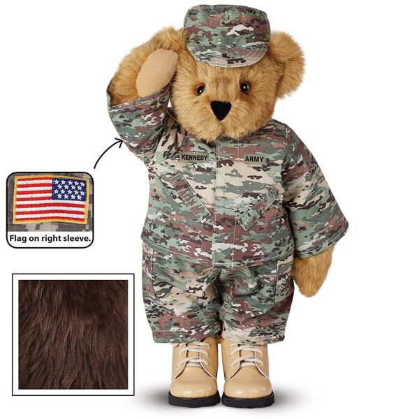 """15"""" Camouflage Bear - Front view of Standing jointed beardressed in a digital camoflage military outfit with American flag on the bear's right sleevewith """"Kennedy"""" personalized on the left chest - Espresso brown fur image number 5"""
