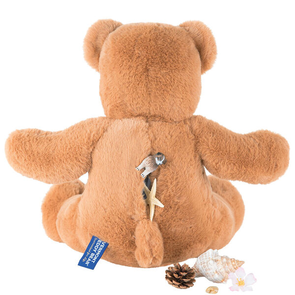 """18"""" Pocket Pal Bear - Back view of seated 18"""" ginger brown bear with toys in the pocket in the back image number 1"""