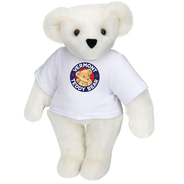 "15"" Classic Vermont Teddy Bear Logo T-Shirt Bear - Front view of standing jointed bear dressed in white t-shirt with Vermont Teddy logo on front - Vanilla white fur image number 2"
