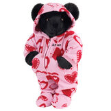 "15"" Hoodie-Footie Sweetheart Bear - Front view of standing jointed bear dressed in pink hoodie footie with red heart patternpersonalized with ""Anne"" in black on left chest - Black fur image number 3"