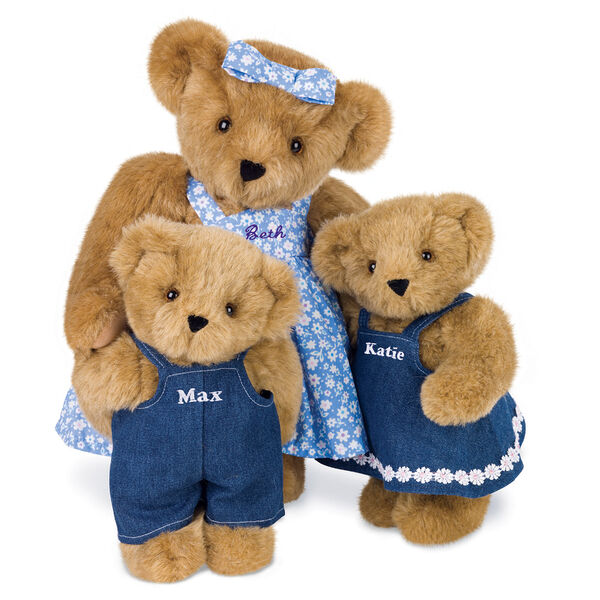 """15"""" Mother Bear - Standing jointed bear dressed in blue floral dress and hair bow personalized with """"Beth"""" in purple on bodice of dress, with 2 11"""" cubs dressed in denim overalls and dress - Honey brown fur image number 1"""