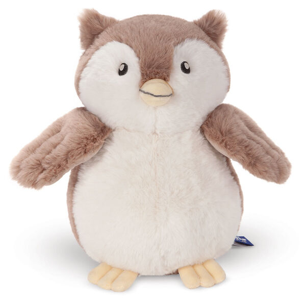 """13"""" Cuddle Cub Owl - Front view of standing brown and white plush owl with embroidered eyes image number 3"""