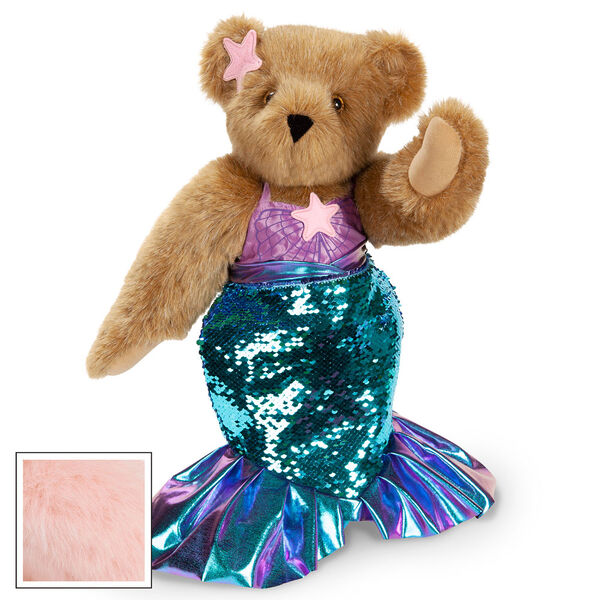 """15"""" Mermaid Bear - Three quarter view of standing jointed bear dressed in a blue sequin tail and purple top with shell embroidery an pink starfish applique and earpiece - pink fur image number 7"""
