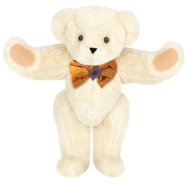 """15"""" Jewish Classic Bear - Front view of standing jointed bear dressed in gold velvet bow tie with Star of David in center - Buttercream brown fur image number 1"""