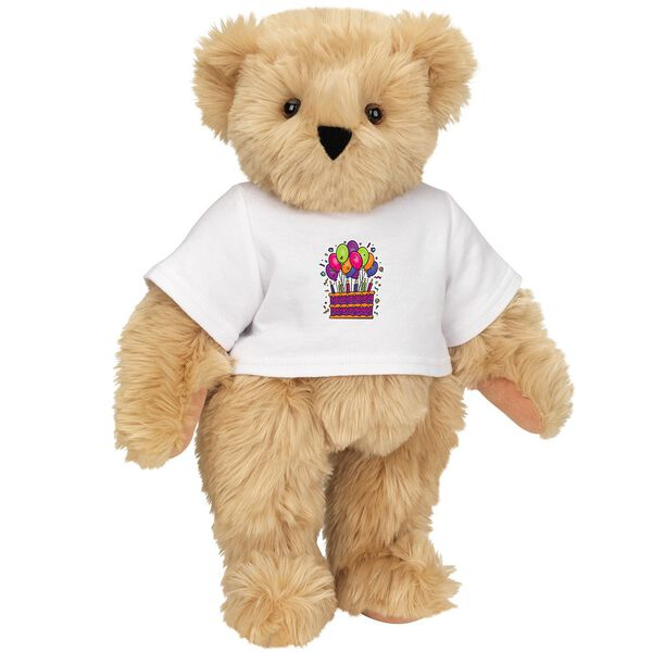 """15"""" Birthday T-Shirt Bear - Standing jointed bear dressed in white t-shirt with colorful birthday cake and balloons - Maple brown fur image number 6"""