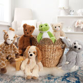 """15"""" Buddy Frog - Group image of seated plush green slim frog in a basket with Buddy Sloth, Buddy Kitten, Buddy Puppy, Buddy Giraffe, and Buddy Bear image number 7"""