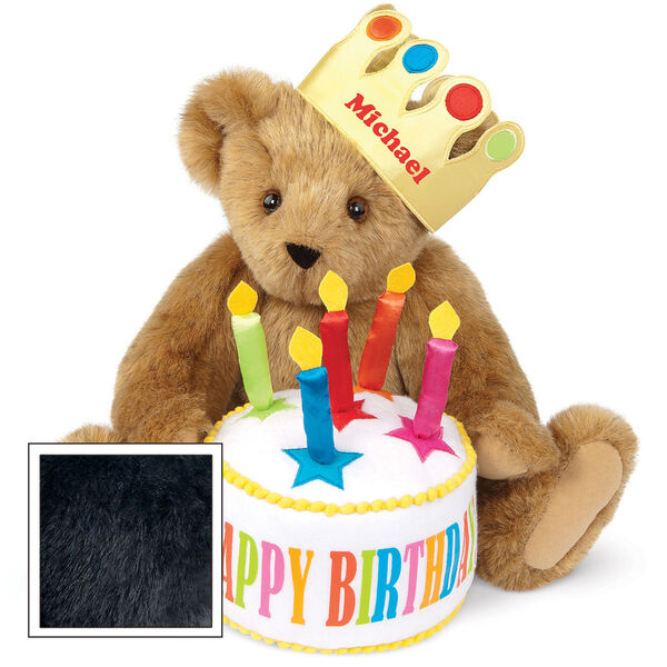 "15"" Happy Birthday Bear - Front view of seated jointed bear dressed in a gold crown with appliqued jewels holding a birthday cake with candles that says ""Happy Birthday"". Crown is personalized with ""Michael"" in red lettering - Black fur image number 3"