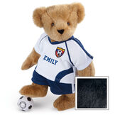 "15"" Soccer Bear - Three quarter view of standing jointed bear dressed in a blue and white jersey with VTB logo, blue shorts and comes with black and white soccer ball. Shirt is personalized with ""Emily"" on the front - Black fur image number 3"
